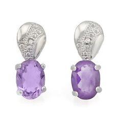 Ohrringe/Ohrstecker Geri, 925er Silber, 1,74 Kt. echter Amethyst/Diamant