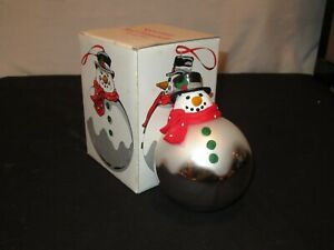 Vintage Christmas SNOWMAN BALL Ornament DEPT 56 #7723-2  Mercury Glass (FF276)