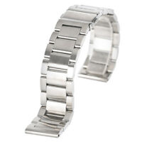 Men's Solid Stainless Steel Watch Band 20mm 22mm Silver Wrist Bracelet Clasp