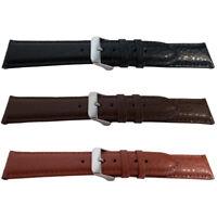 Buffalo Grain Padded Profile Leather Mens Watch Strap Black Brown,Tan 18,20,22mm