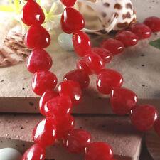 "10mm Red jade Gemstone Heart Loose Beads 15 """