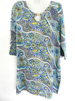 BOHO Australia Tunic Shift Dress Maxi Blue Paisley Sleeve Size 8 10 Small New