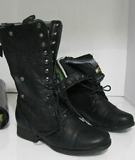 """Black 1.5"""" Low Block Heel Lace Up Combat Sexy Mid-Calf Boots Size 7.5"""