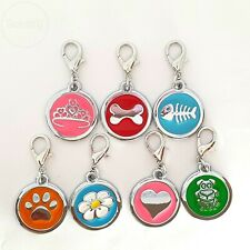 ID Tag Cat Collar Charm Clip On For Dog Pet Puppy Purse Gift - NOT ENGRAVED