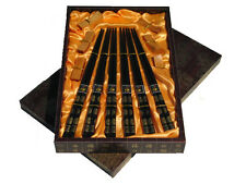 TRADITIONAL CHINESE LACQUERED WOOD CHOPSTICKS & RESTS, DARK BROWN in GIFT BOX