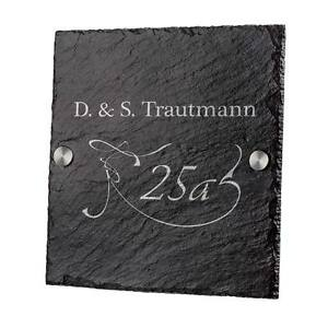 Schiefertafel Türschild Schieferplatte inkl. Gravur Motiv Hausnummer mit Schwung