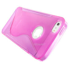 Hot Pink S-line Ultra-Thin TPU Skin Case Cover For Apple iPhone 5S 5 w/Screen