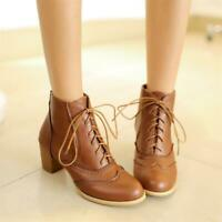 Women Retro Round Toe Ankle Boots Block Heel Lace Up Oxford Casual Wing Tip Shoe