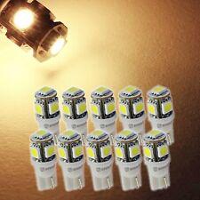 Zone Tech 10x 194 168 2825 T10 5 Smd Warm White LED Car Interior Light Bulbs