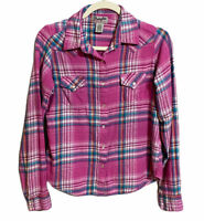 Wrangler Wrancher Pink Plaid Flannel Pearl Snap Shirt Size Medium