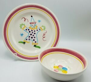 Stangl CIRCUS CLOWN Child's Kiddieware China, Plate and Bowl, Vintage, USA