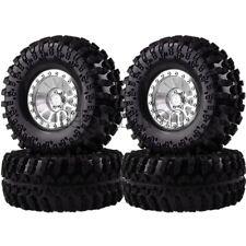 "4PCS SILVER Aluminum 2.2"" Beadlock Wheels & TIRES FOR RC 1/10 Rock Crawler"