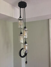 Jar Chandelier Swag Light Black Canopy & Twisted Cord  Plug in! No Hard Wiring!!