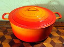 BELGIUM Vintage FE Sunburst Orange Cast Iron Enamel Casserole Lidded Pan Pot #8