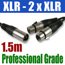 XLR SPLITTER 1.5M   1 x MALE to 2 x FEMALE CABLE   259