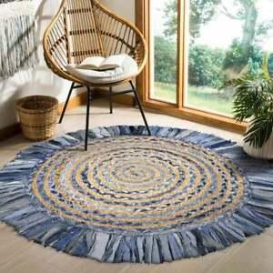 Rug 100% Natural Denim Jute Handmade Reversible modern living area carpet rugs