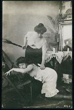 Lesbian mistress Punishment nude woman original c1910s gelatin silver photo