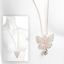 Long Elegant Crystal Butterfly Pendant Rose Gold Necklace