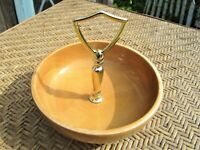 "Vintage Oregon Myrtlewood Nut Tray Candy Dish with Gold Tone Handle 6"" D MCM"