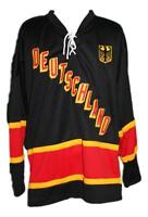 Custom Name # Deutschland Germany Retro Hockey Jersey New Black Any Size