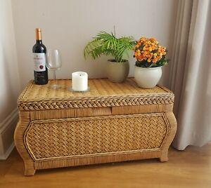Vtg Retro Boho Bamboo Wicker Rattan Storage Trunk Side Occasional Table Ottoman
