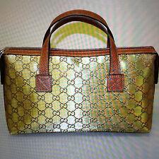 NEW Authentic GUCCI GG Canvas Boston Bag Bowling bag Handbag Gold 264210 8070