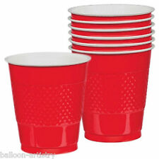 20 Wedding Party RED Sports Team Colour 355ml Disposable Plastic Cups
