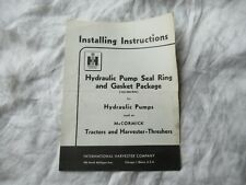 1957 Farmall tractor hydraulic pump seal ring gasket package installation manual