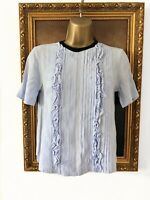 H&M Pale Dove Baby Blue Lace Ruffle Pleated Tie Neck T-shirt Top Blouse -32