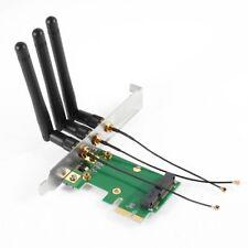 Mini PCI-E Express to PCI-E Wireless Adapter w 3 Antenna WiFi for PC S4E2