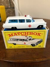 Matchbox No. 54 S&S Cadillac Ambulance Silver Grille In Original Box