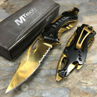 MTech Half Serrated Tactical Rescue Outdoor Spring Assisted Pocketknife [Gold]