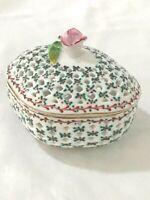 Royal Danube Trinket Box 1886 Rose Handle Mistletoe Christmas