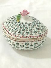 New ListingRoyal Danube Trinket Box 1886 Rose Handle Parallelogram Mistletoe Christmas