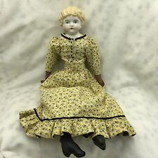 "Antique German Kling Blue Eyes Blonde Hair China Head 16"" Doll"