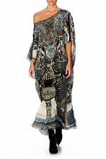 new CAMILLA FRANKS SILK SWAROVSKI GIRL ON THE WING ROUND NECK KAFTAN DRESS