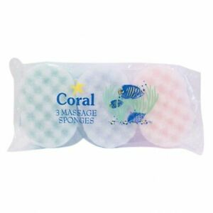 CORAL MASSAGE SPONGES - 3 PACK - IDEAL FOR THE BATH OR SHOWER