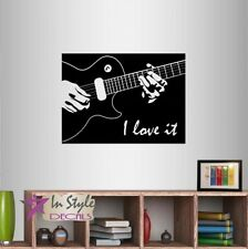 Wall Vinyl Decal I Love It Guitar Player Accords Music Musician Art Sticker 650