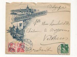 D155027 Switzerland Buffet Illustrated Cover 1914 Bern Velthem Belgium