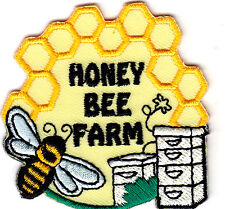"""`""""HONEY BEE FARM"""" - Iron On Embroidered Applique Patch/Farm,, Honey Bees, Honey"""
