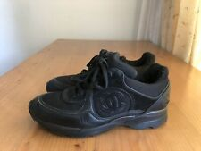 Authentic Chanel Black Suede Leather Low Top Lace Up Sneakers Size EU 37 US 7