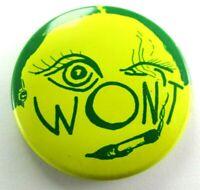 1940 Vintage Pinback Pin Button One Eye Moon Face Smoking Cigarette Anthro WON'T