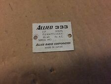 Allied Knight 333 REAR ID BADGE PLATE - Vintage Tube Receiver Parts