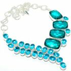 "Teal Tourmaline, Blue Topaz Silver Jewelry Necklace 18"" MQR-2960"