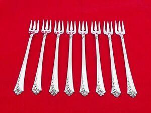 Set of 8 Oneida Sterling Silver Damask Rose Seafood Forks ZE-5