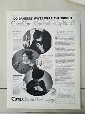 1934 cutex Coral Cardinal Ruby fingernails Bankers wives wear polish ad