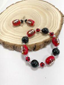 Football Jewelry Bracelet Dangle Earring Sport Handmade Tampa Bay Football color