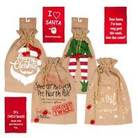 Large Santa Vintage Christmas Jute Hessian Bag Stocking Jumbo Gift Felt Sack