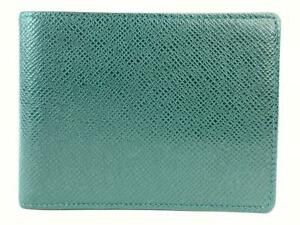 Louis Vuitton Taiga Green Leather Men's Bifold Wallet 9L1111