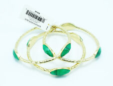 Gorgeous New 3 Piece Gold Bangle Set With Green Stones by Banana Republic #BRB8